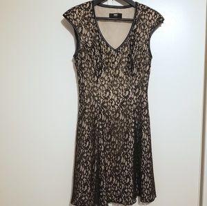 ABS Black & Gold Lace Faux Leather Trim Dress